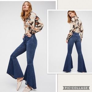 NWT Free People Ruffle Flare Jeans